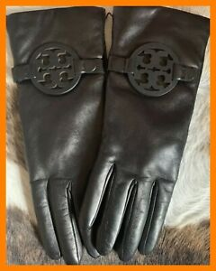 TORY BURCH MILLER LOGO GLOVES BLACK LEATHER / CASHMERE LINING  SZ 6.5 NWT $178