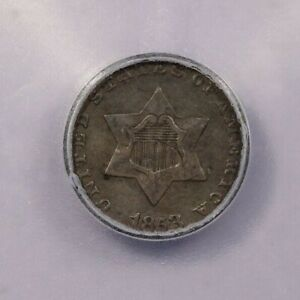 1853-P 1853 Three Cent Silver ICG EF40 XF40 Details