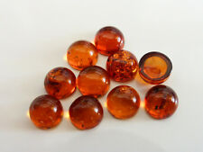 1 x 6mm Flat Round Natural Orange Amber Cognac Cabochon Beads Semiprecious GB109