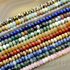 4x6mm & 5x8mm Faceted Natural GemStone Rondelle Spacer Loose Beads Strand 15.5