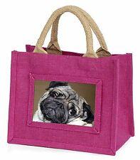 Cute Pug Dog Little Girls Small Pink Shopping Bag Christmas Gift, AD-P64BMP