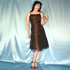 Schokobraunes robe de cocktail * S 36 * Satin ROBE DE FETE * Mini-robe * Robe de soirée