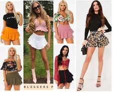 Layered Ruffled Frill Overlay Hem Elastic High Waisted Mini Skirt Skorts Shorts