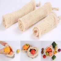 Reusable Eco Natural Cotton Mesh Produce Bag Grocery Storage Shopping Fruit Bag