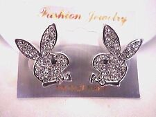 men/women new crystal playboy bunny stud earrings silver plated