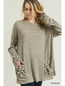JODIFIL SOLID TAUPE TOP  CONTRAST LEOPARD PRINT LONG SLEEVES FRONT POCKETS LARGE
