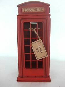 Telephone Money Box / Tin Plate Model /Ornament /Gift/ Red