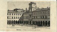 Stampa antica MODENA Piazza Grande Municipio Emilia 1891 Old antique print