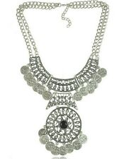 Vintage Silver Fashion Women Coins Chain Pendant Statement Bib Necklace Jewelry