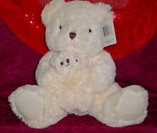 PLUSH PALS * CREAM BEAR WITH BABY * BROWN NOSE * BIG EYES * CUTE * 11 INCH