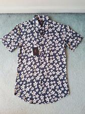 BOSSINI LONDON Grey Flower Cotton European Cut Shirt SMALL BNWOT
