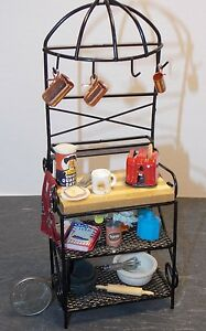 Dollhouse Miniature Metal Kitchen Bakers Rack 1:12 inch scale F18 Dollys Gallery
