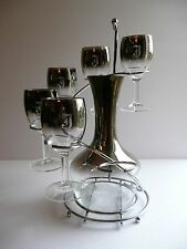 Vintage SILVER FADE Barware Glass Set Decanter Stand 5 Wine Monogram Initial F