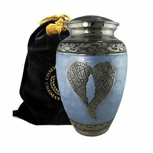 Loving Angel Wings Blue Silver Cremation Urns Human Ashes Large Baby Blue New