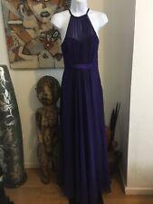 Coast Deep Purple Silk & Chiffon Fit & Flare Maxi Dress UK 8 Immaculate