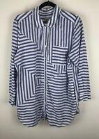Chicos Sz 3 Blue White Striped Two Pocket Long Sleeve Shirt