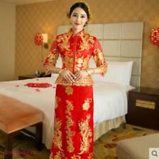 Grace Ladies Embroidery Chinese QiPao Long Red Wedding Evening Bride Dress new