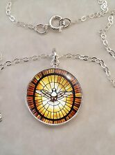 Sterling Silver .925 Pendant Peace Dove Stained Glass Catholic Christian