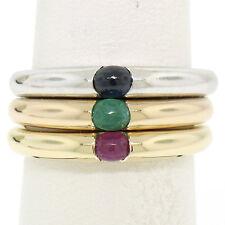 14k Tri Color Oro 3 Apilable Engaste tensión Emerald Zafiro Rubí solitario