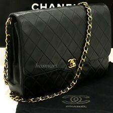 CHANEL Authentic Vintage Chain Shoulder Bag Black Quilted Flap Lambskin g53