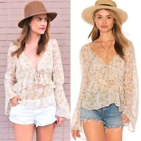 Free People Uptown Bell Sleeve Blouse Top Size Large Floral Boho Botanical