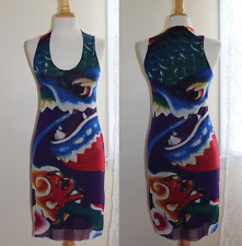 Vivienne Tam -Sz XS 0/2 Amazing Dragon Art-to-Wear Asian Mesh Knit Fitted Dress