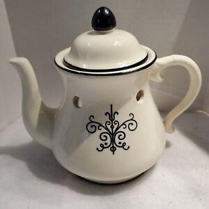 Rare Yankee Candle Teapot Wax Tart Warmer EUC White with Black Design