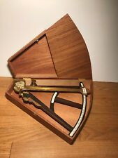 Antique Maritime Octant Brass Date Unknown F Robson New Castle Wood Box Included