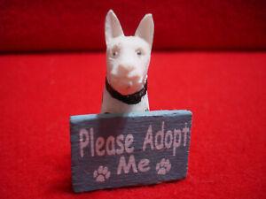 "Miniature 1 3/4"" Hard Wood or Resin White Dog Figurine PLEASE ADOPT ME"