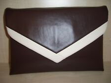 OVER SIZED DARK BROWN AND CREAM faux leather envelope clutch bag,  lined BN!