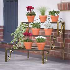 3 Tier Outdoor Plant Stand Bronze Metal Garden Display Pot Shelf Birthday