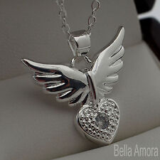 "925 Sterling Silver Angel Wings Clear CZ Heart Crystal Pendant 18"" Necklace 224"