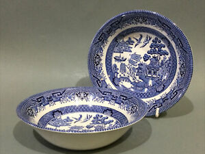 """Churchill China Blue & White """" Willow Pattern """"  2 x Soup / Cereal Bowls"""