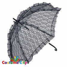 Black Lace Parasol Steampunk Victorian Umbrella Fancy Dress Costume Accessory