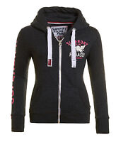 New Womens Superdry Trackster 'Pegasus' Zip Hoodie Grey