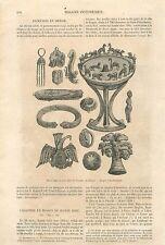 Objets Fibule Torque Antiquités Tumulus Sibérie Russie GRAVURE OLD PRINT 1860