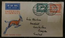 1932 Capetown South Africa First Flight Airmail Cover FFC To Croydon England