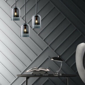 Nordic Style Glass Bell Shade LED Kitchen Ceiling Pendant Light Amber/Smoky Grey