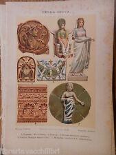 antica stampa da incorniciare TERRA COTTA ROMANA GRECA ETRUSCA CORNICE ARTE DI