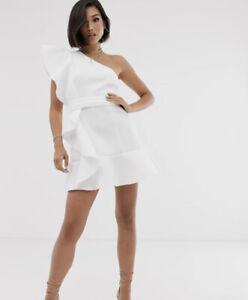 ASOS DESIGN one shoulder ruffle mini dress with pep hem Ik 16