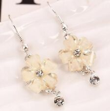 Cute New 9K White Gold Filled White CZ & Crystal Flower Dangle Drop Earrings