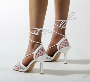 Sexy Women Sandals Mesh Pumps Square Toe High Heels Lace Up Cross Strap Stiletto