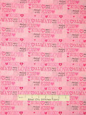 Valentine's Day Love XOXO Hugs Kisses Pink Cotton Fabric General Fabrics YARD