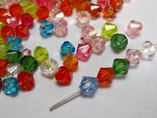 500 Mixed Colour Transparent Acrylic Faceted Bicone Spacer Beads 6X6mm