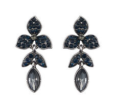 Night Blue Leaf Crystal Drop Earrings