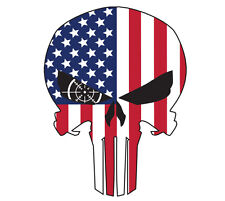 "Usa Flag Punisher Skull 7.5"" x 10"" - High Quality Laminated Vinyl Decal"
