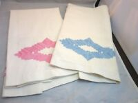 2x 1950's embroidered linen dish towels. Pink & blue