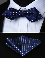 Men Self Bow Tie Polka Dot Floral Diamond Point Tip BowTie Handkerchief Set#JT1