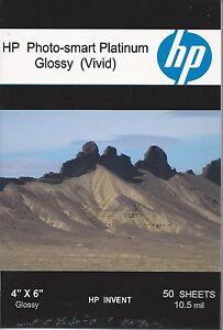 HP Photo-smart Platinum Glossy Vivid~~4 x 6~NO Tabs Photo Paper~50ct~10.5 mil