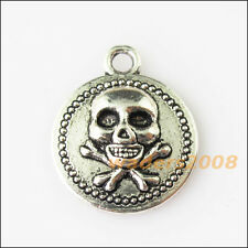 8 New Halloween Round Skull Tibetan Silver Tone Charms Pendants 15x17.5mm